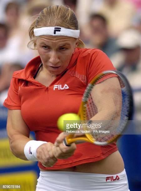 Russia's Svetlana Kuznetsova in action against Slovakia's Daniela Hantuchova in action againstduring the final of the Hastings Direct International...