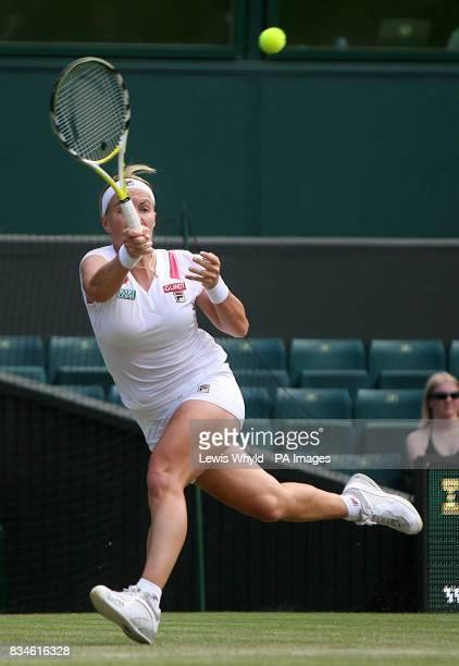 Russia's Svetlana Kuznetsova in action against Ukraine's Kateryna Bondarenko during The Wimbledon Championships at The All England Lawn Tennis Club...
