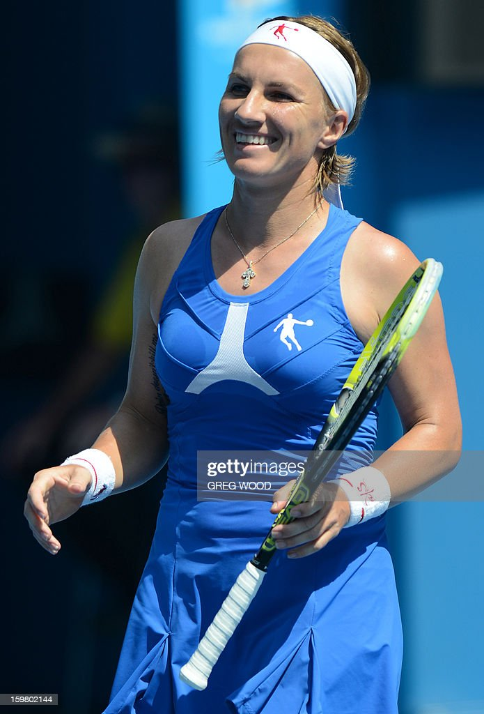 Russia's Svetlana Kuznetsova smiles during her women's singles match against Denmark's Caroline Wozniacki on the eighth day of the Australian Open tennis tournament in Melbourne on January 21, 2013.