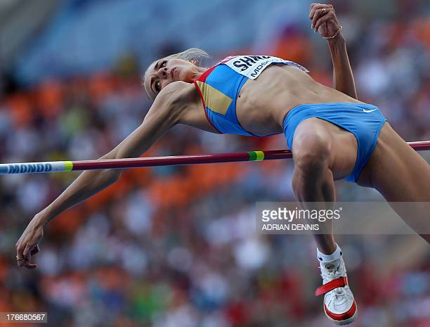 Russia's Svetlana Shkolina competes during the women's high jump final at the 2013 IAAF World Championships at the Luzhniki stadium in Moscow on...