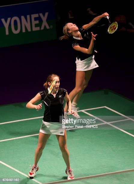 Russia's Valeria Sorokina and Nina Vislova celebrate in action against Petya Nedelcheva of Bulgaria and Anastasia Russkikh of Russia in the Women's...