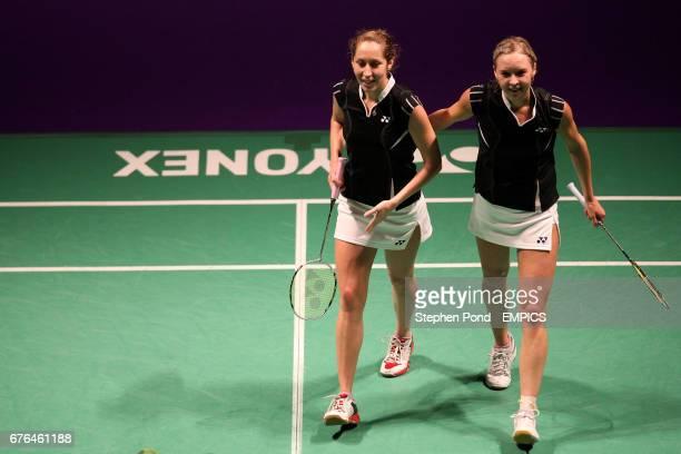 Russia's Valeria Sorokina and Nina Vislova celebrate victory against Petya Nedelcheva of Bulgaria and Anastasia Russkikh of Russia in the Women's...