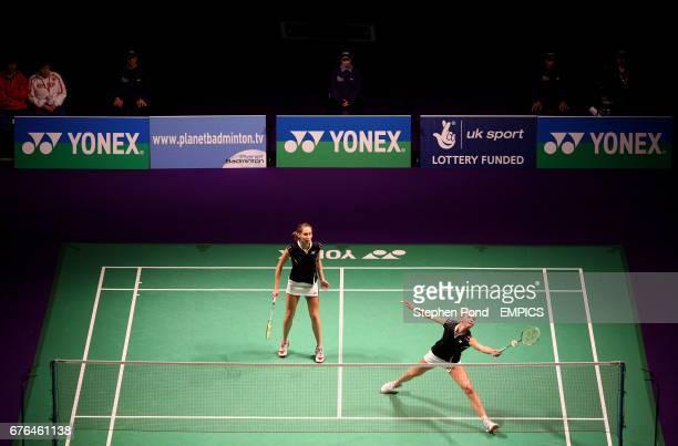 Russia's Valeria Sorokina and Nina Vislova in action against Petya Nedelcheva of Bulgaria and Anastasia Russkikh of Russia in the Women's Doubles...