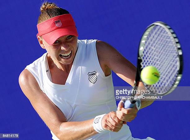 Russia's Vera Zvonareva hits a return during her final match against India's Sania Mirza at the Pattaya Tennis Open in Pattaya on February 15 2009...