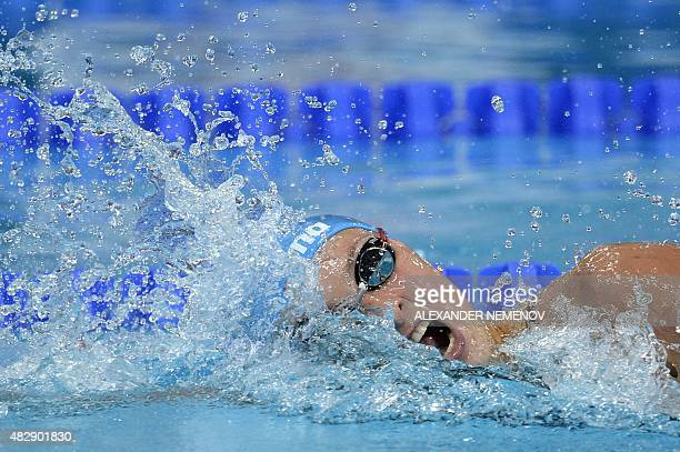 Russia's Veronika Popova competes in a preliminary heat of the women's 200m freestyle swimming event at the 2015 FINA World Championships in Kazan on...