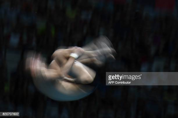 TOPSHOT Russia's Viktor Minibaev competes in the Men's 10m plaform final during the diving competition at the 2017 FINA World Championships in...