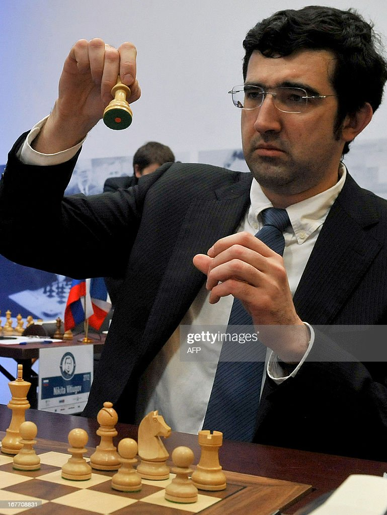 Russia's Vladimir Kramnik takes part in the Alekhine Memorial chess tournament in St.Petersburg, on April 28, 2013.