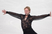 Russia's Yevgeni Plushenko performs in the Men's Figure Skating Team Free Program at the Iceberg Skating Palace during the Sochi Winter Olympics on...