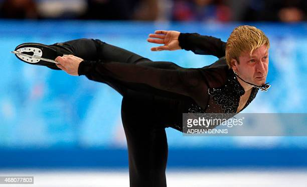 Russia's Yevgeni Plushenko performs the Men's Figure Skating Team Free Program at the Iceberg Skating Palace during the Sochi Winter Olympics on...