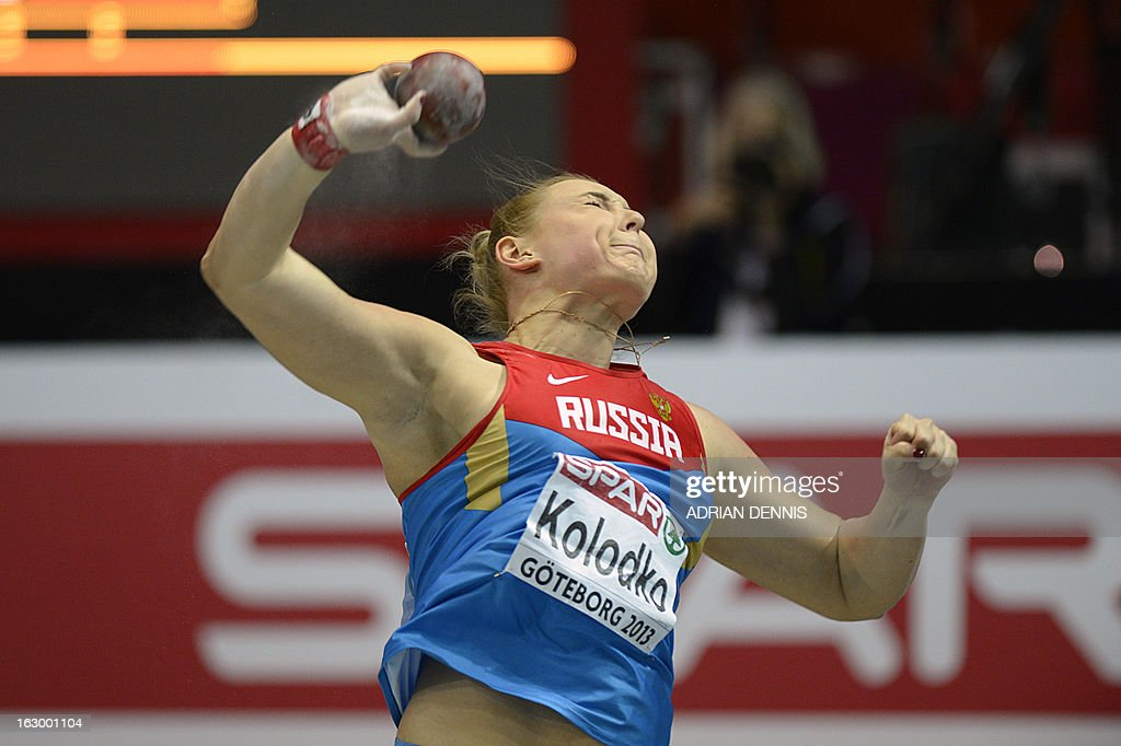Russia's Yevgeniya Kolodko competes in the Women's Shop Put Final event at the European Indoor athletics Championships in Gothenburg, Sweden, on March 3, 2013.