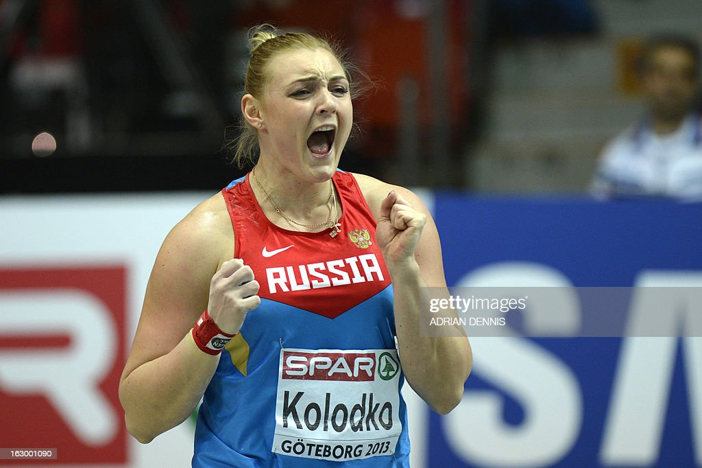 Russia's Yevgeniya Kolodko reacts after competing in the Women's Shop Put Final event at the European Indoor athletics Championships in Gothenburg, Sweden, on March 3, 2013. AFP PHOTO / ADRIAN DENNIS