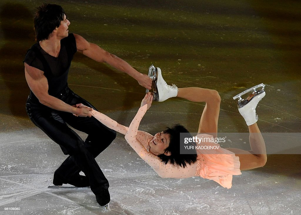 Russia's Yuko Kavaguti and Alexander Smirnov perform during the exhibition gala of the World Figure Skating Championships on March 28, 2010 at the Palavela ice-rink in Turin.