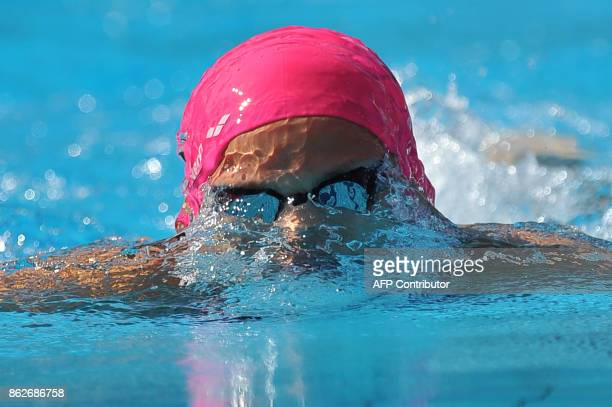 Russia's Yuliya Efimova competes during the women's 100m breaststroke qualifications at the European Swimming Championships in Budapest on August 10...