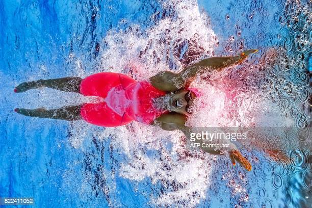 TOPSHOT Russia's Yuliya Efimova competes in the women's 100m breaststroke final during the swimming competition at the 2017 FINA World Championships...