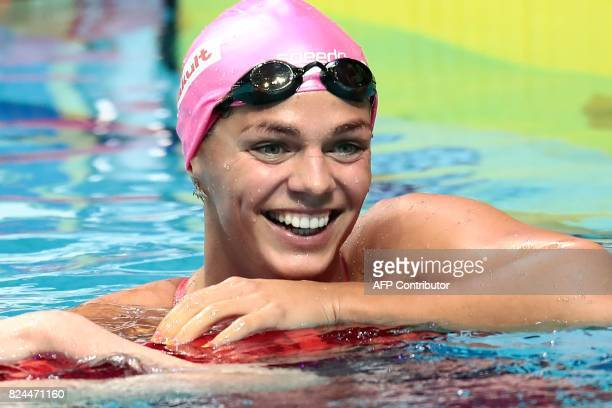 Russia's Yuliya Efimova reacts after competing in the final of the women's 50m breaststroke during the swimming competition at the 2017 FINA World...