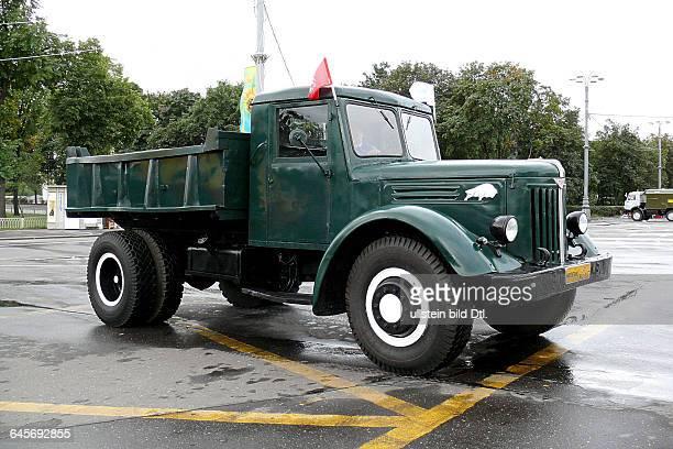Russland Moskau Ausstellungszentrum WWZ früher WDNCh Moskauer Verkehrsbetriebe Mosgortrans Lastkraftwagen Kipper MAZ205 gebaut 19471965 Automobilwerk...