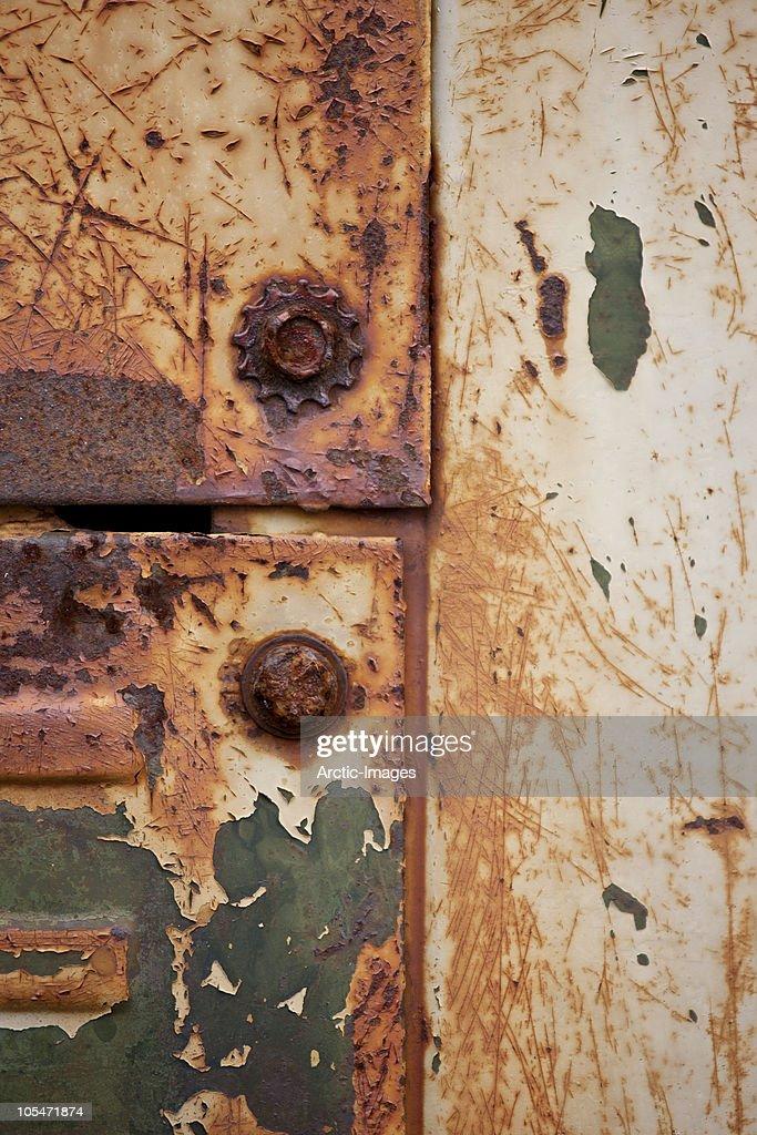 Rust on door of old truck : Stock Photo