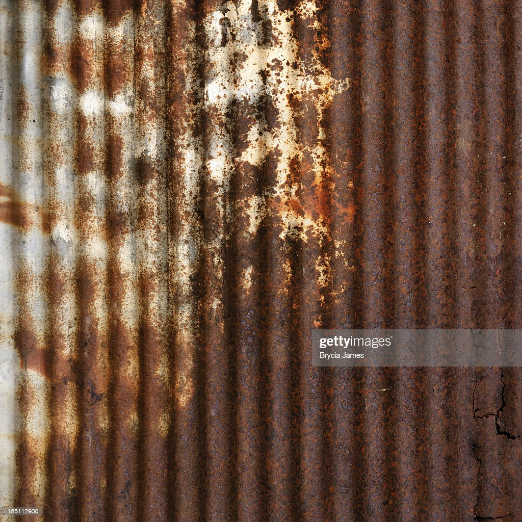 Rusted Corrugated Steel Background Texture