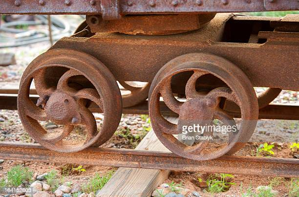 Rusted old ore car wheels