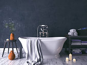 Rustic Bathroom With Old Wooden Stool And Burning Candles 3d render