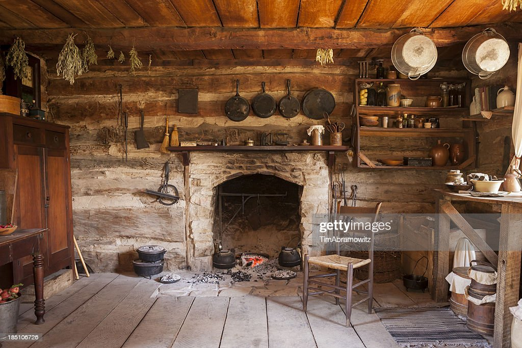 rustic cabin interior stock photo getty images. Black Bedroom Furniture Sets. Home Design Ideas