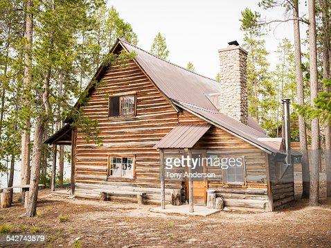 Rustic cabin near mountain lake
