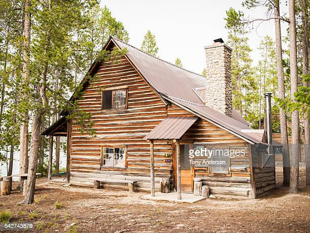 Rustic cabin near mountain lake