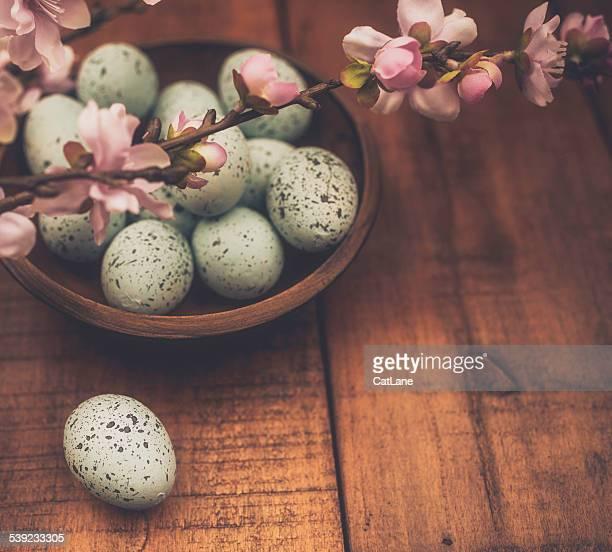 Rustikale Ostern Stillleben.   Gepunktete Eiern, Blüten in rustikalen bowl.