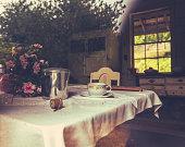Rustic Farmhouse Kitchen Through Window