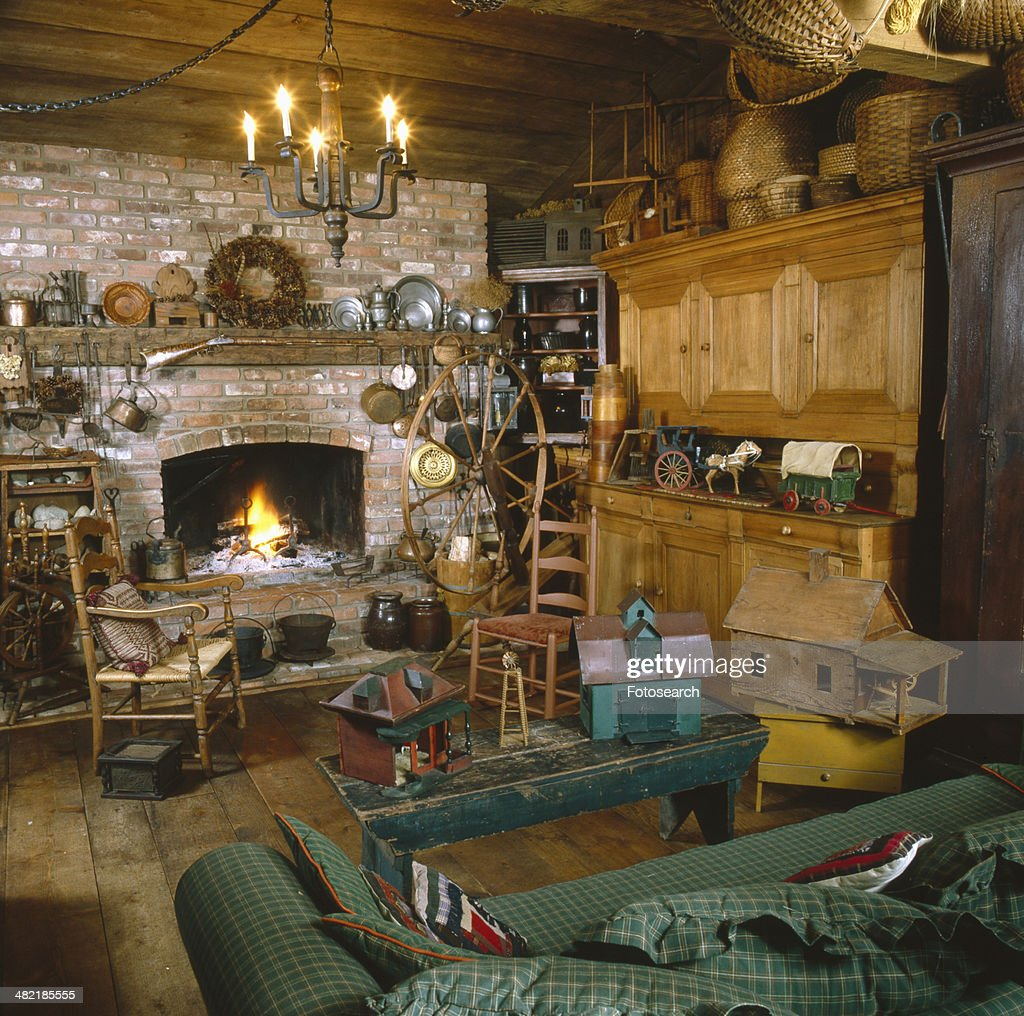 Rustic Fireplace In Living Room Stock Photo Getty Images