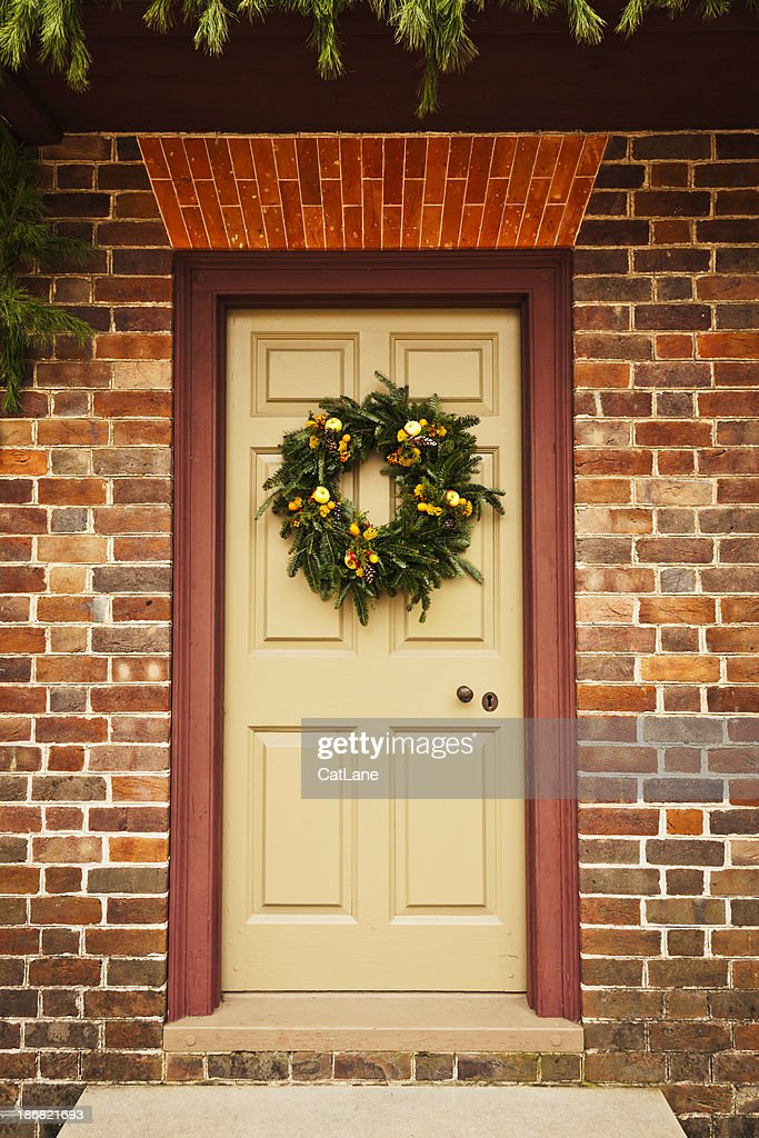 Rustic Holiday Wreath on Colonial Front Door