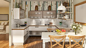Picture of domestic, rustic kitchen. Render image.