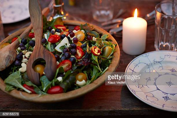 Rustic organic salad at dinner table