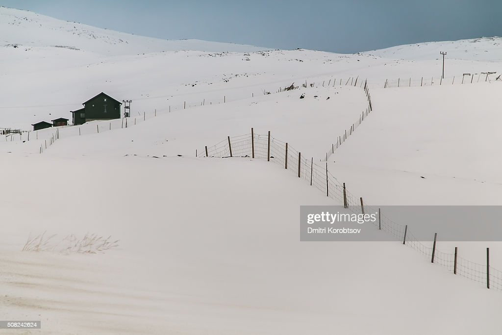 Rustic polar landscape on Mageroya island in Finnmark county of Norway