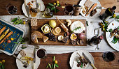 Rustic style dinner with cheese platter
