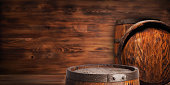 Rustic wooden barrel on a night background.Rustic wooden barrel on a night background.Rustic wooden barrel on a night background.Rustic wooden barrel on a night background.Rustic wooden barrel on a ni