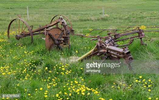 Rusting Farming Tools in an Iceland Farm : Foto de stock