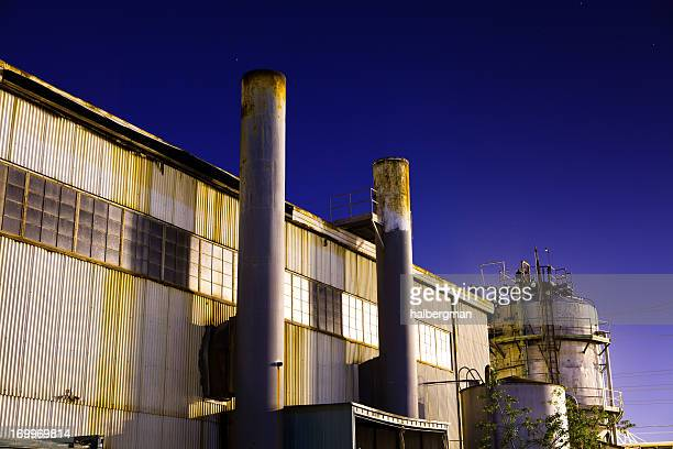 Rusty Abandoned Currugated Metal Warehouse at Night