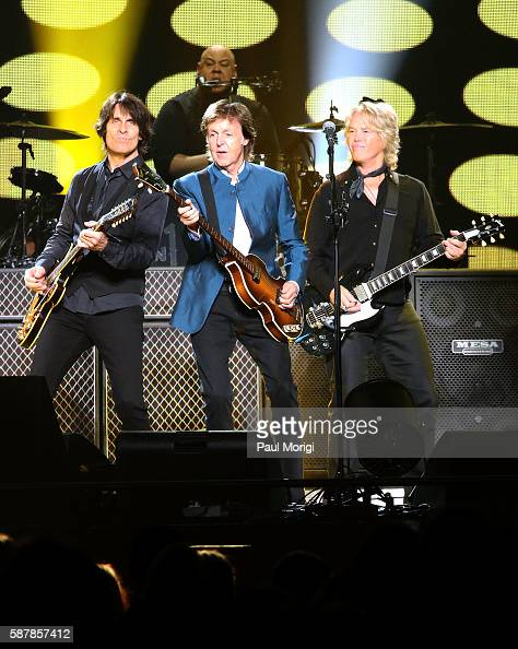 Rusty Anderson Abe Laboriel Jr Paul McCartney and Brian Ray perform in concert at the Verizon Center on August 9 2016 in Washington DC