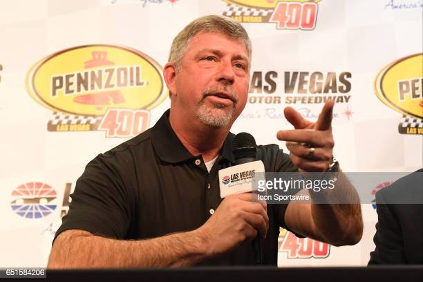 Rusty Barron Vice President of Marketing Shell Lubricants Americas speaks during an announcement for the new sponsorship and Pennzoil 400 race for...