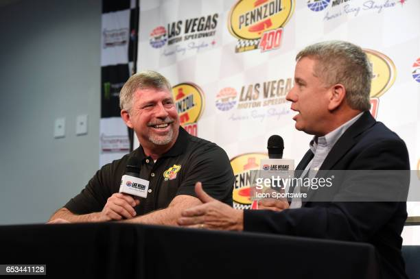 Rusty Barron Vice President Shell Lubricants Americas and Chris Powell LVMS President and General Manager announce the new sponsorship and Pennzoil...