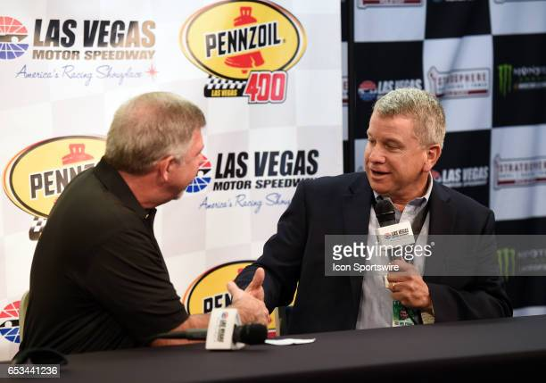 Rusty Barron Vice President Shell Lubricants Americas shakes the hand of Chris Powell LVMS President and General Manager announce the new sponsorship...