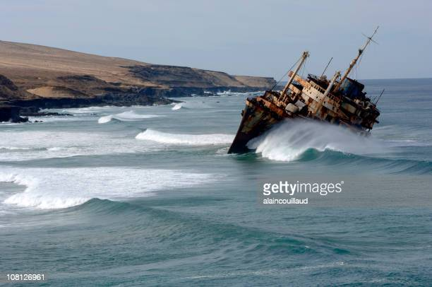 Rusty Boat Capsizing Near Canary Island Coastline