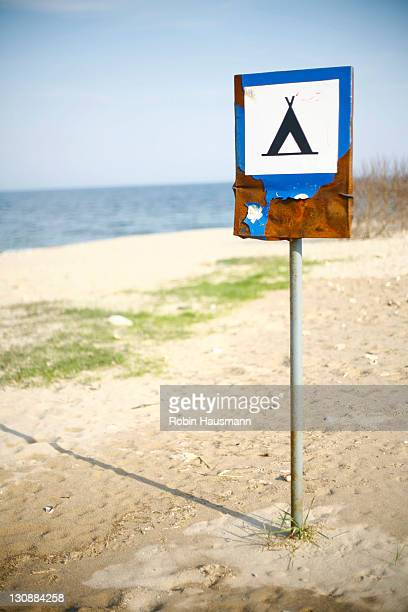 Rusty camping sign, Vama Veche, Romania, Europe