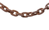 Brown rusty slack chain isolated on white background.