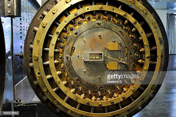 Rusty inner workings of a bank vault
