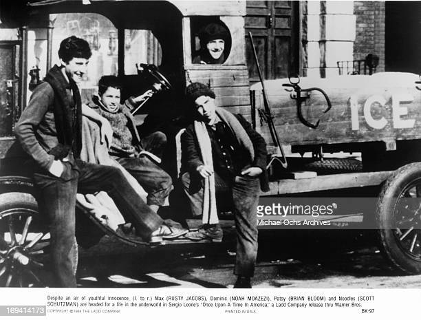 Rusty Jacobs Noah Moazezi Brian Bloom and Scott Schutzman Tiler smiling on ice truck in a scene from the film 'Once Upon A Time In America' 1984