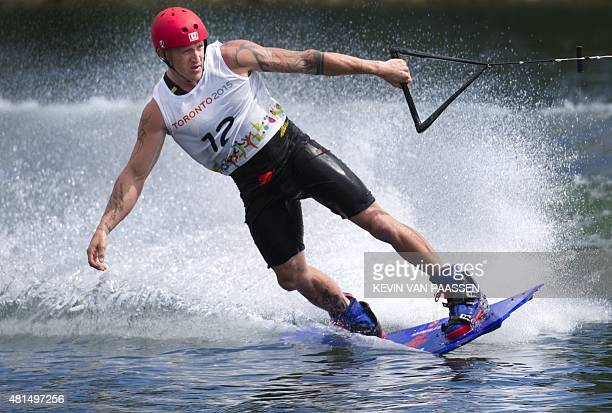 Rusty Malinoski of Canada competes in the Men's Wakeboard semifinal at the Pan American Games on July 21 2015 in Toronto Canada AFP PHOTO/KEVIN VAN...