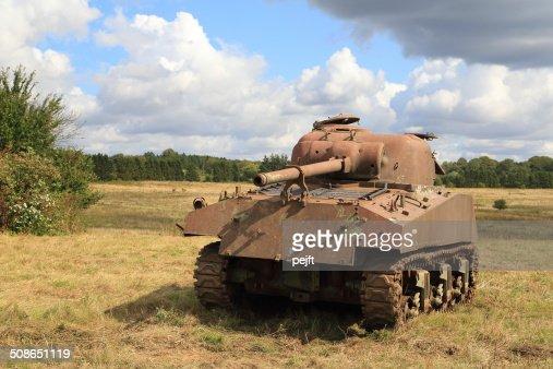 Rusty old WW II and Cold War Sherman tank : Stock Photo