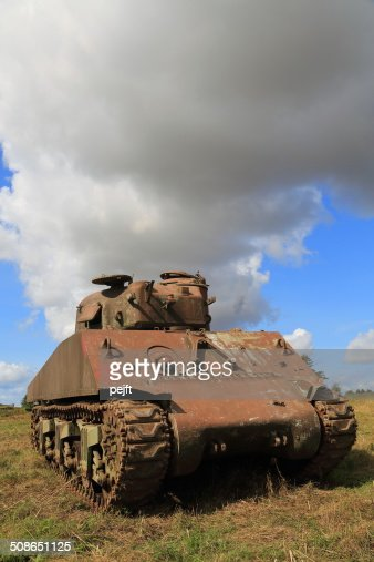 Rusty old WW II and Cold War Sherman tank : Stock Photo
